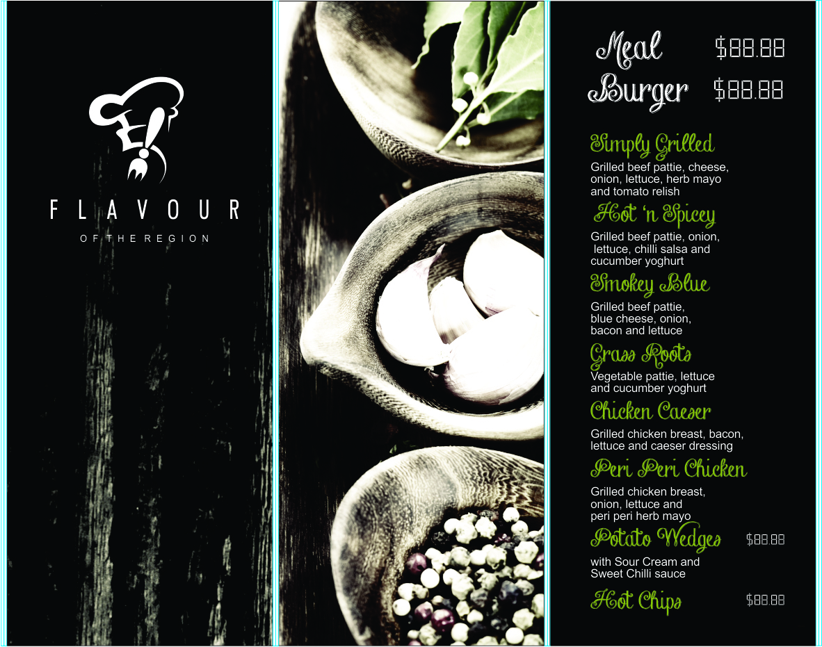 close up of one of the menus